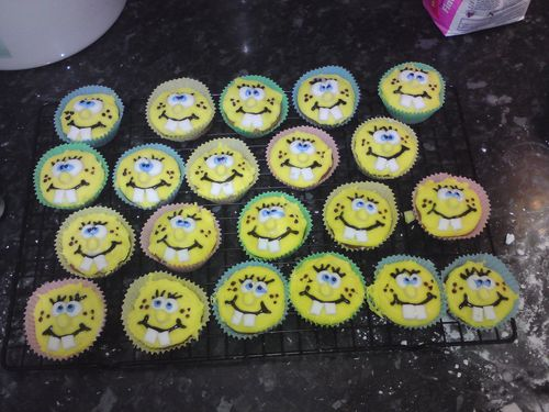 SpongeBob birthday cupcakes homemade