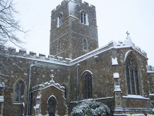 Church in the snow close-up