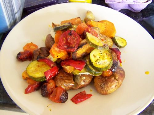 Roasted Veg, Hummus and Baked New Potatoes