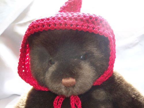 teddy bear in crochet hat