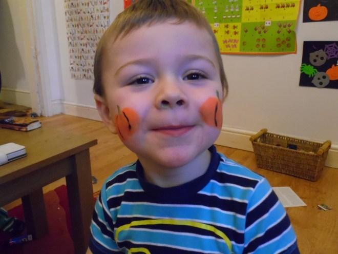 Kids pumpkin face paint