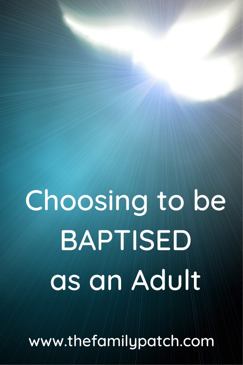 "Abstract blue background with white dove in the top right hand corner shining light down across the image. The words ""choosing to be baptised as an adult"" are on the image."