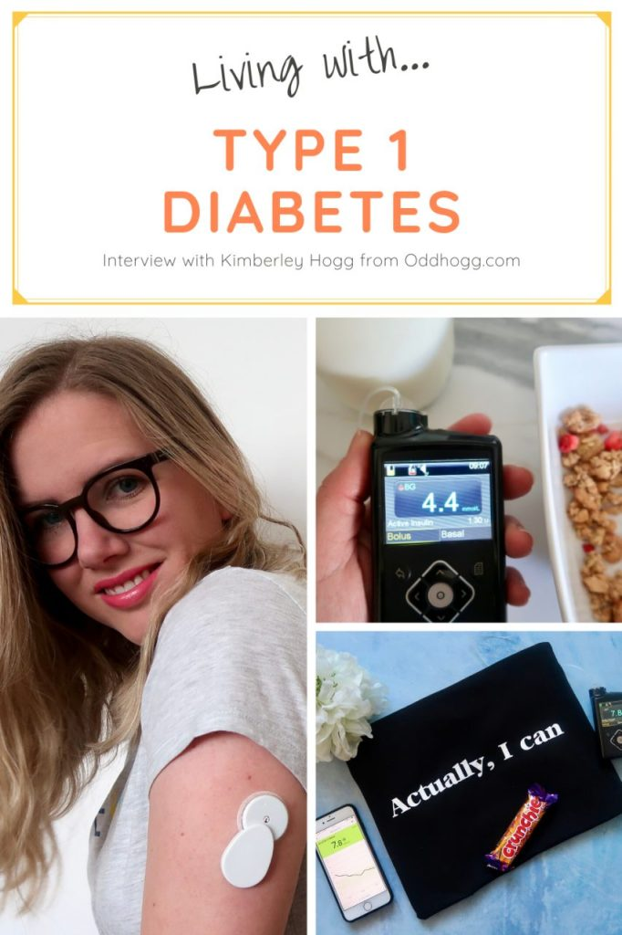 "Collage of images with woman with long blonde hair and glasses wearing an insulin pump; an image of a blood sugar monitor with cereal in the background; and a flat lay image if items related to diabetes including a blood sugar pump and a chocolate bar with a bag with the words ""Actually I can"" written on it."