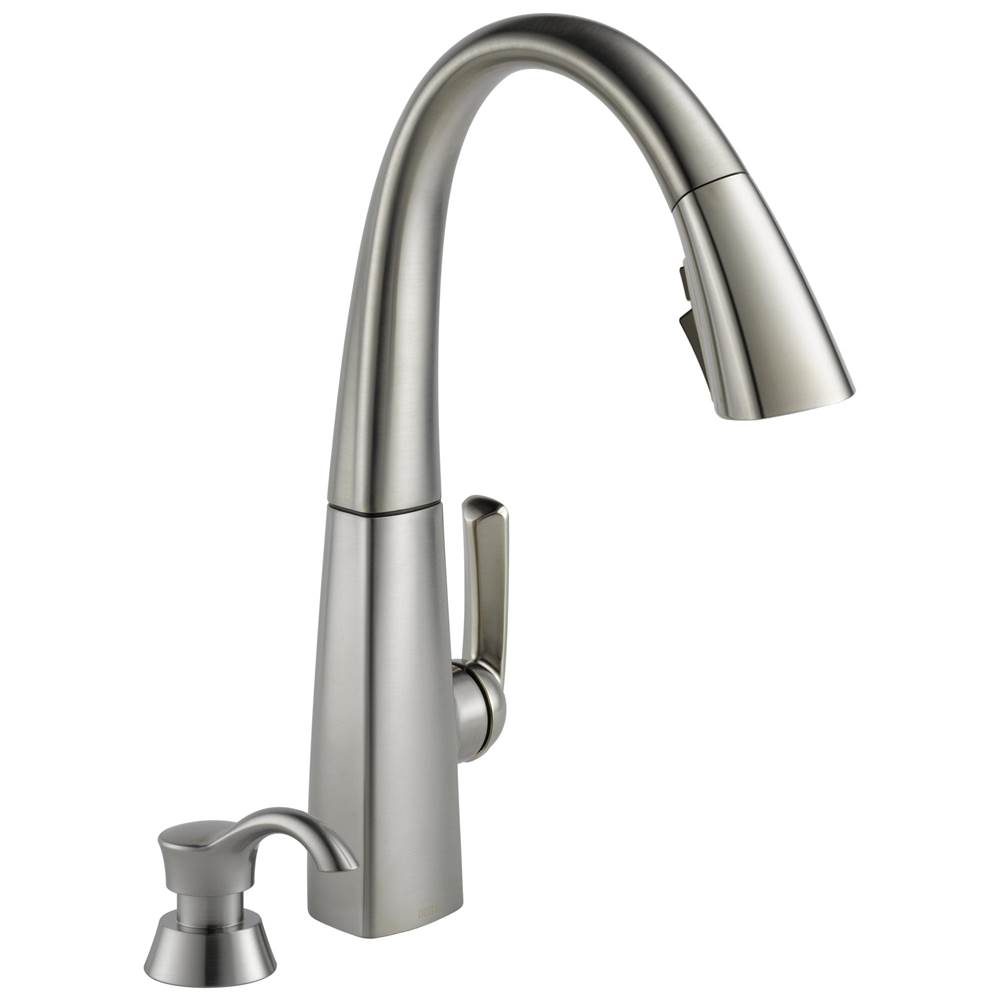 arc single handle pull down kitchen faucet with soap dispenser and