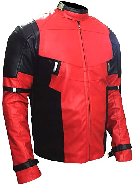 Mens Ryan Reynolds Deadpool Red and Black Leather Jacket
