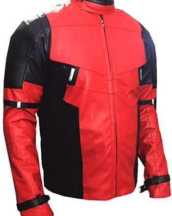 Mens Ryan Reynolds Deadpool Red and Black Leather Jacket