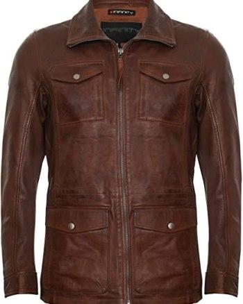 El Paso Mens Brown Leather Jacket