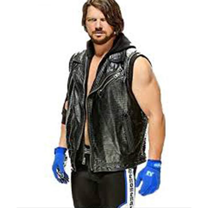 AJ Styles WWE Leather Vest with Hoodie
