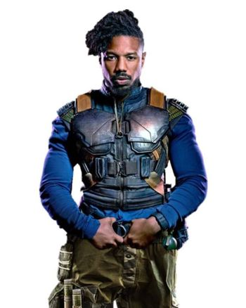 Black Panther Armor Style Leather Vest Costume