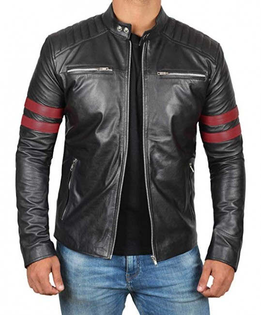 HUNTER Red Strip Cafe Racer Motorcycle Leather Jackets