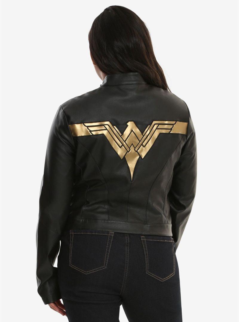 Justice League Wonder Woman Gal Gadot Real Leather Black Jacket