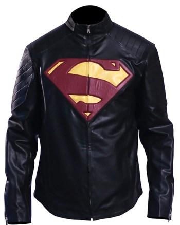 Men's Superman Man Of Steel Leather Jacket