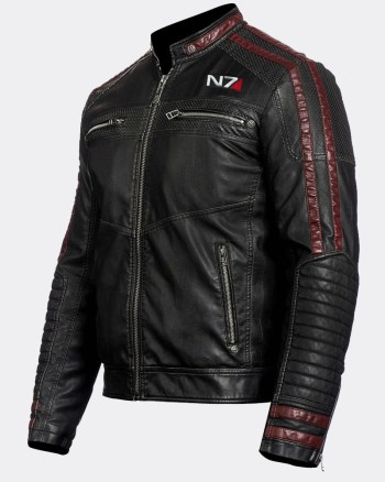 N7 Commander Shepard Gaming Motorcycle Black Real Sheepskin Leather Jacket