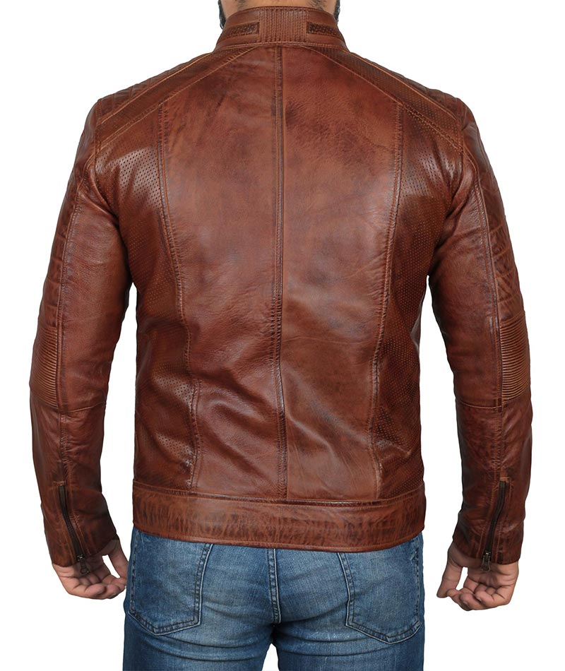 AUSTIN Retro Cafe Racer Leather Jacket
