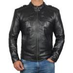 BUTTON POCKET Black Belted Collar Leather Biker Jacket