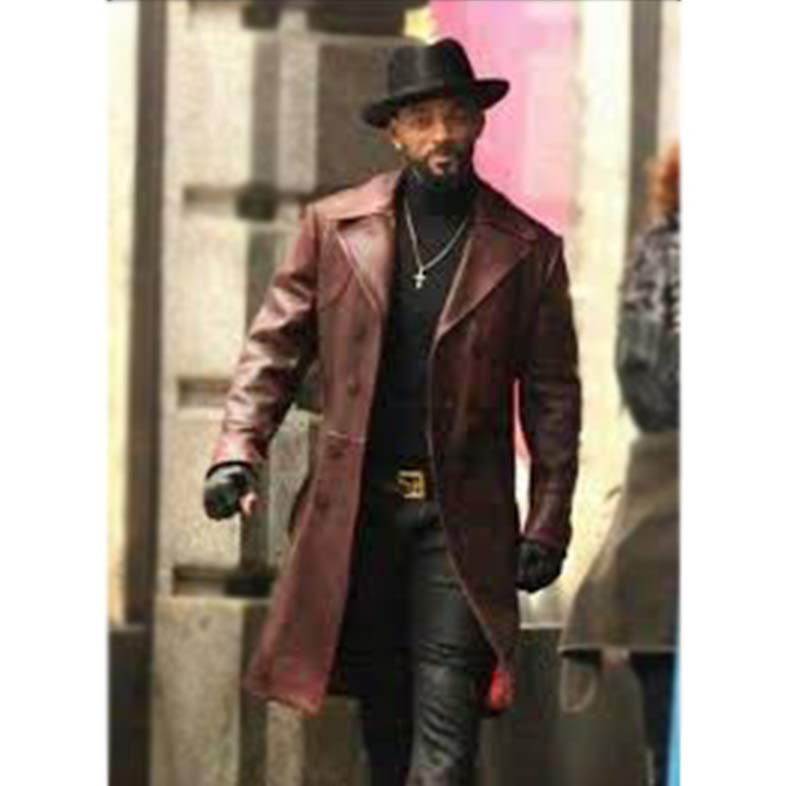 Dead Maroon Double Breasted Leather Trench Coat