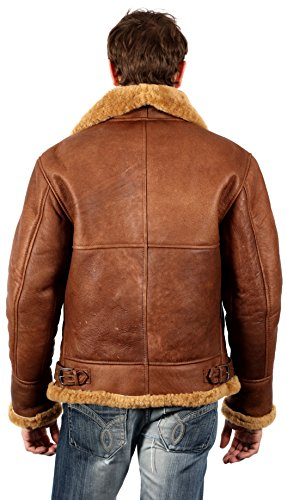 Infinity Men's Brown B3 Aviator Sheepskin WW2 Bomber Leather Pilot Jacket