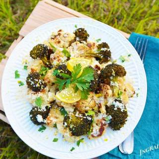 Roasted Broccoli & Cauliflower with Lemon-Tahini Drizzle
