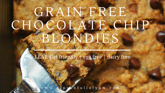 Grain Free Chocolate Chip Blondies by A Spoon Full of Yum