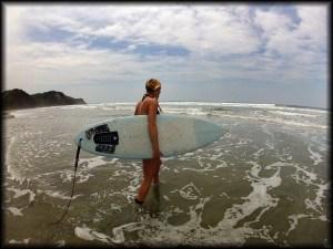 autumn surfer girl photo