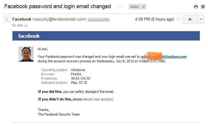 Akun Facebook yang Dihack Oleh Orang Lain