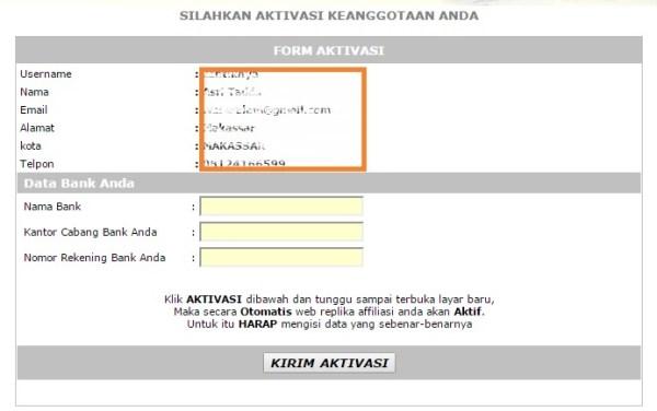 Form Aktivasi Pendaftaran Program Afiliasi Cream Yashodara