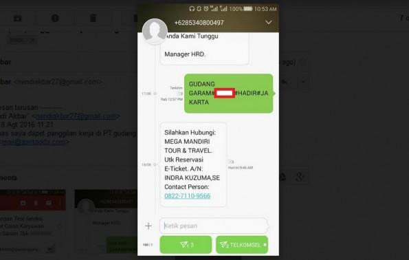 SMS Balasan Panggilan Wawancara Kerja Palsu dari PT Gudang Garam