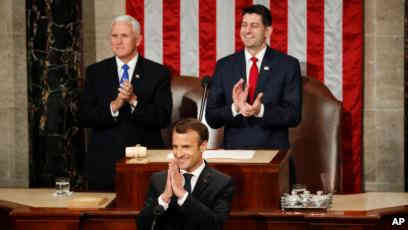 الرئيس الفرنسي يعرض رؤيته أمام الكونغرس الأمريكي