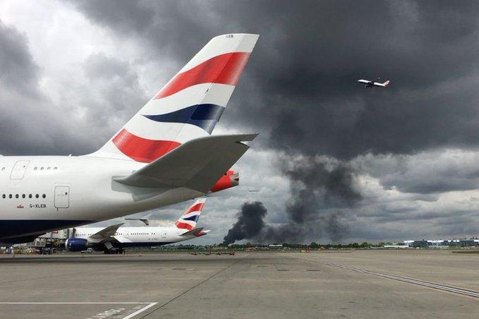 انفجار هائل يهز محيط مطار هيثرو في بريطانيا