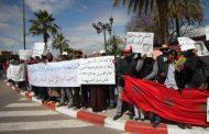مواطنون يحتجون للمرة الثانية أمام ولاية جهة مراكش آسفي تنديدا بقرار إفراغهم من منازلهم