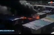 بالفيديو .. النيران تلتهم سوق الجملة بالمحمدية