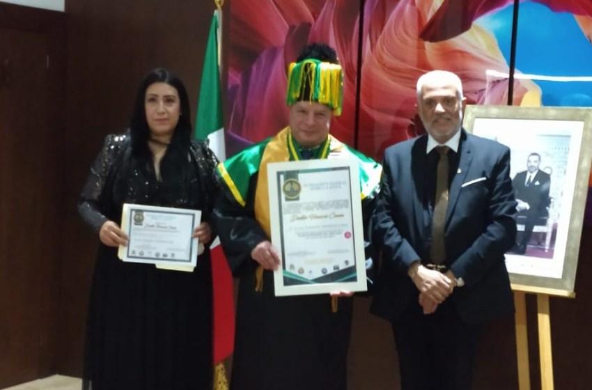 """سفير المغرب بالمكسيك يتسلم شهادة الدكتوراه الفخرية من مؤسسة """"Fundacion Global Africa Latina"""""""