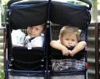 children on jogging stroller