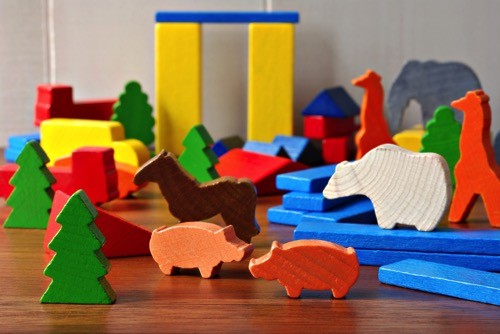 wooden blocks and construction toys