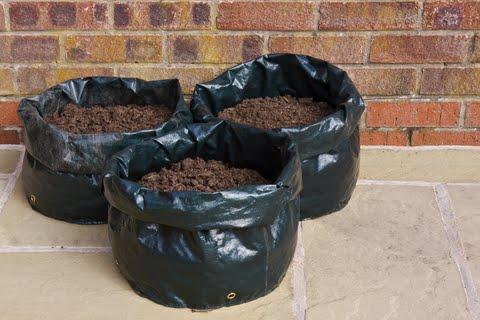 3 sacos de lixo cheio com terra