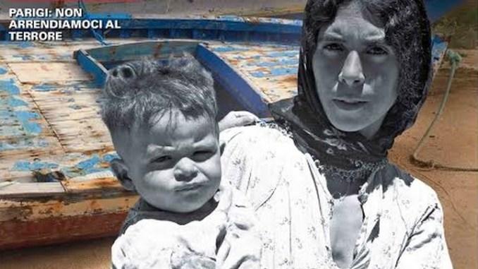 Rivista San Francesco, copertina dedicata ai migranti L'immagine di una profuga con in braccio il suo bambino e sullo sfondo un barcone di Lampedusa