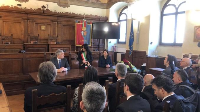Presidente Parlamento europeo Antonio Tajani in visita in Comune ad Assisi