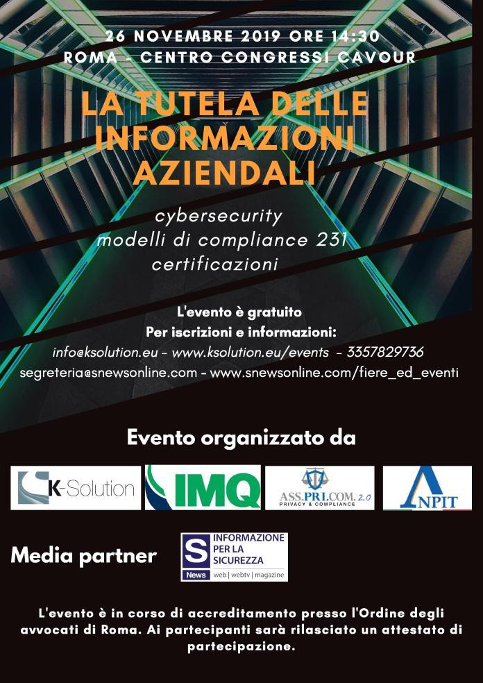 Convegno Cybersecurity 26 Novembre 2019