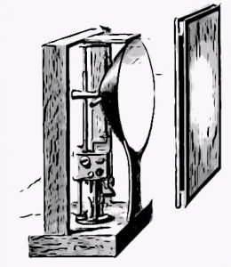 lampe a arc dans un appareil destinéà produire l'effet du soleil levant