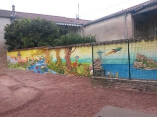 La fresque de l'école d'Azé sur le thème de Ponti (suite à la participation à la Fête des Livres)