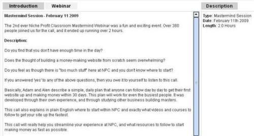 NPC Mastermind Webinar Session
