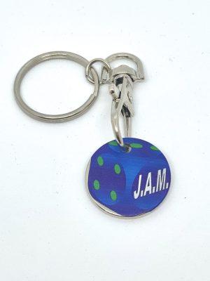 Porte clé avec jeton chariot – texte imprimé logo J.A.M.