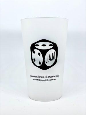 Gobelet plastique – Texte imprimé logo J.A.M. & 10 ans de J.A.M.
