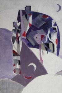 Francesca Soggiu - Condividere le verita con il cielo - acrilico cartone - 44.5x29.5