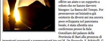 """Dal sito Giornaledipuglia.com """"Le banche del tempo: un convegno nazionale per il futuro del nostro welfare"""""""