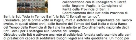 """Dal sito Quindici-Molfetta.it """"Convegno nazionale """"Banca del Tempo: una risposta solidale alla crisi economica e sociale?"""""""