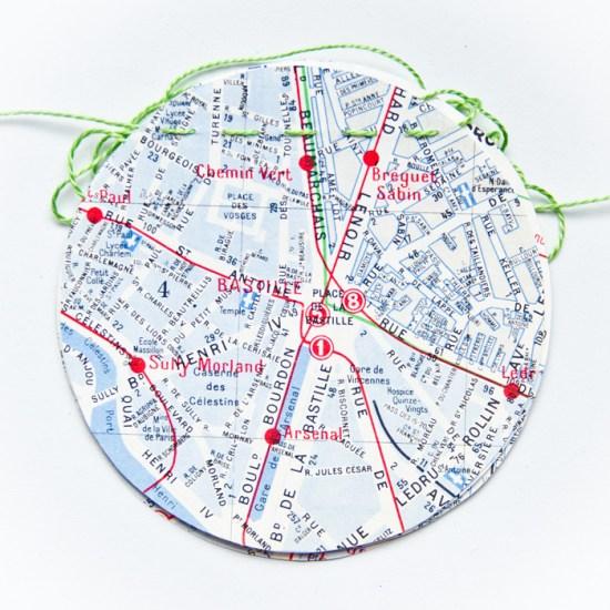 Guirlande vintage bleue plan de Paris
