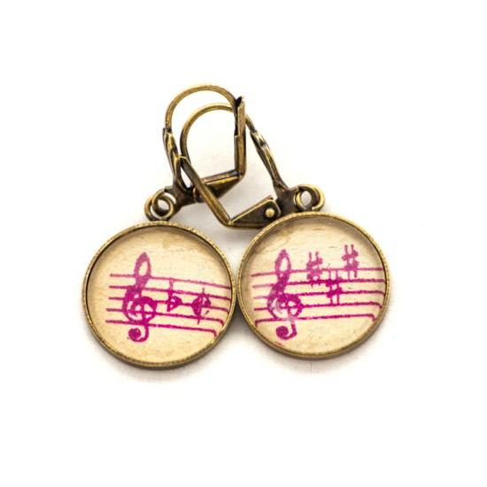 Golden music sheet studs earrings Purple Clés