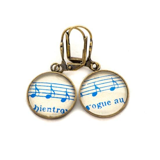 Boucles d'oreilles dorée Partitions Notes Bleues Bientôt Vogue