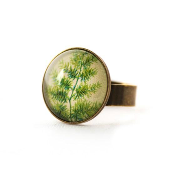 Vintage postcard ring Green Foliage